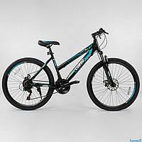 Подростковый спортивный велосипед хардтейл  26 дюймов 16 рама CORSO пружинно-эластомерная вилка