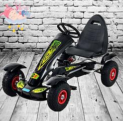 Детский педальный карт надувные колеса Bambi M 1450-2 черный