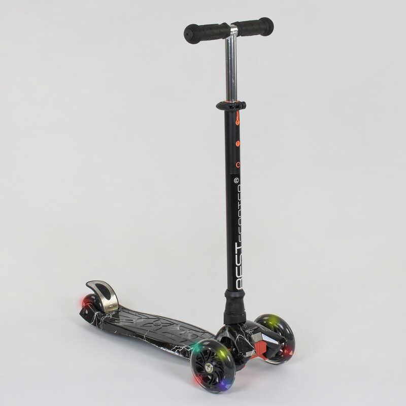 """Самокат А 25463 /779-1318 MAXI """"Best Scooter"""" (1) пластмассовый, 4 колеса PU, СВЕТ, трубка руля алюминиевая, d=12см, в коробке"""