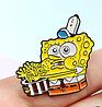 Губка боб спанч боб брошь брошка значок Sponge Bob металл с миской, фото 4