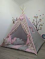 """Большой Вигвам для девочки с мягким ковриком подушечками """"Единороги на розовом"""""""