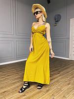 Женское летнее  лён льняное жатка Плаття Сарафан в пол стильное модное пляжное яркие цвета повседневное