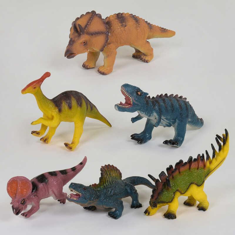 Динозавр музыкальный Х 076 (96/2) 6 видов, резиновый в кульке