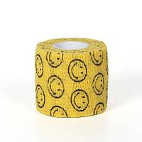 Бинт MONDIGOS Кобан 5см самофиксирующийся эластичный желтый смайлики
