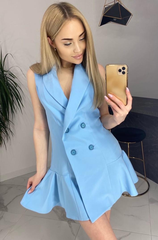 Голубое короткое однотонное платье-пиджак с воланом по низу