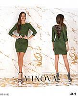 Замшевое платье с гипюровой вставкой на спине арт 8621