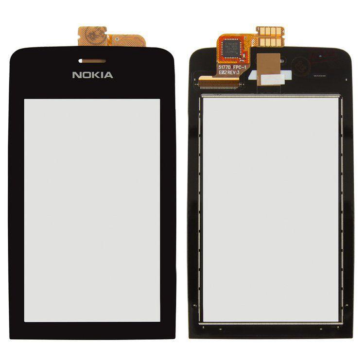 Сенсор (тачскрин) для телефона Nokia Asha 308, Asha 309, Asha 310 Black