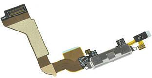 Нижний шлейф iPhone 4 с разъемом зарядки и микрофоном Original White