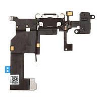 Нижний шлейф зарядки iPhone 5 с разъемом наушников и микрофоном Original Black