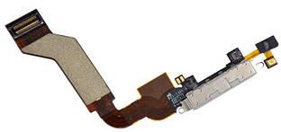 Нижний шлейф iPhone 4S с разъемом зарядки и микрофоном Original White