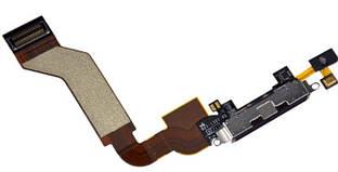 Нижний шлейф iPhone 4S с разъемом зарядки и микрофоном Original Black