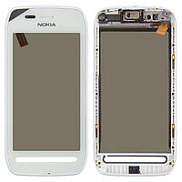 Сенсор (тачскрин) для телефона Nokia 603 with frame White