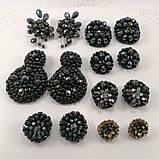Сережки чорні кришталеві з намистин і бісеру ручної роботи повсякденні вечірні стильні сережки, фото 10