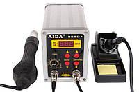 Паяльная станция двухканальная, термовоздушная, турбинная Aida (Kada) 858D+ (Фен, паяльник, 900М, 550Вт)