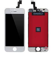 Дисплей (экран) для телефона Apple iPhone 5S, SE + Touchscreen (переклеено стекло, original) White