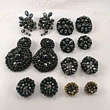 Сережки чорні кришталеві з намистин і бісеру ручної роботи повсякденні вечірні стильні сережки, фото 9