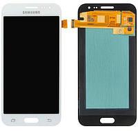 Дисплей (экран) для телефона Samsung Galaxy J2 J200, J200F (Super AMOLED) + Touchscreen Original White