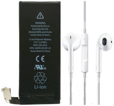 Аккумулятор Apple iPhone 4S (1430 mAh) 12 мес. гарантии + Apple EarPods with Remote and Mic (MD827)