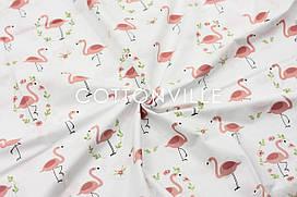 Ранфорс 240 см Фламинго на белом