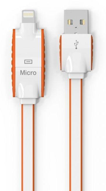 Кабель USB LDNio Micro USB+Lightning 2 in 1 flat 2.1A Orange (LC83)