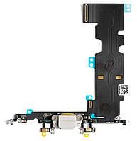 Шлейф Apple iPhone 8 Plus с разъемом зарядки / наушников и микрофоном Original Silver