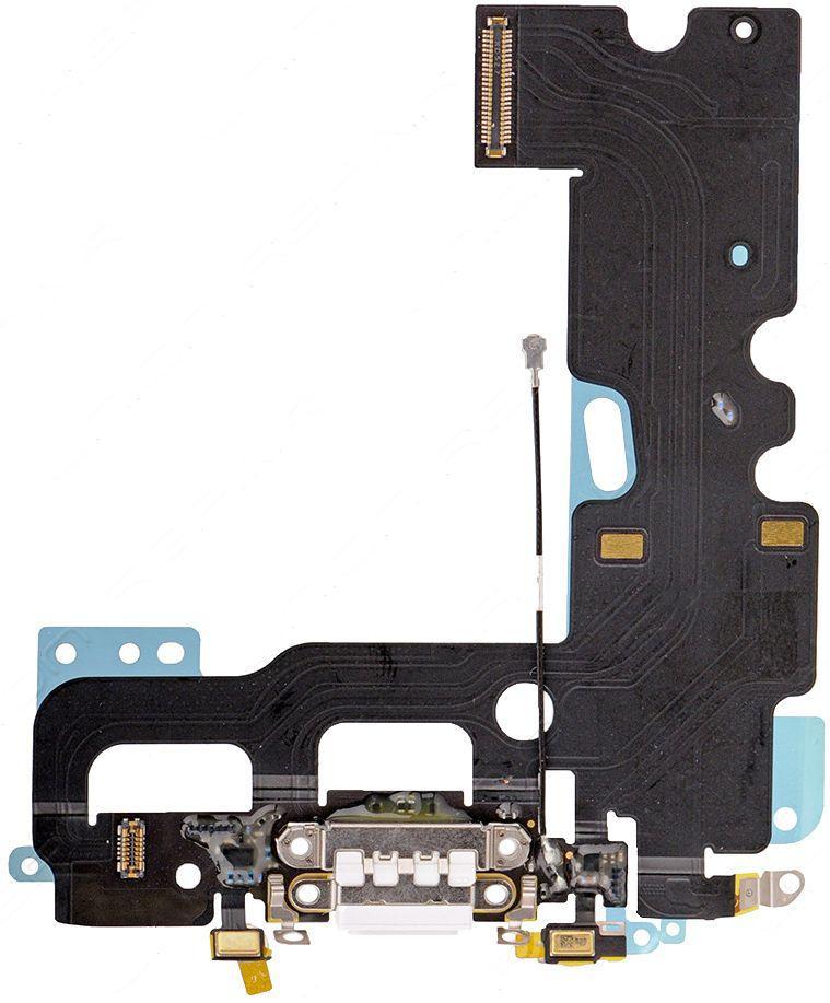 Нижний шлейф зарядки iPhone 7 с разъемом наушников и микрофоном Original White