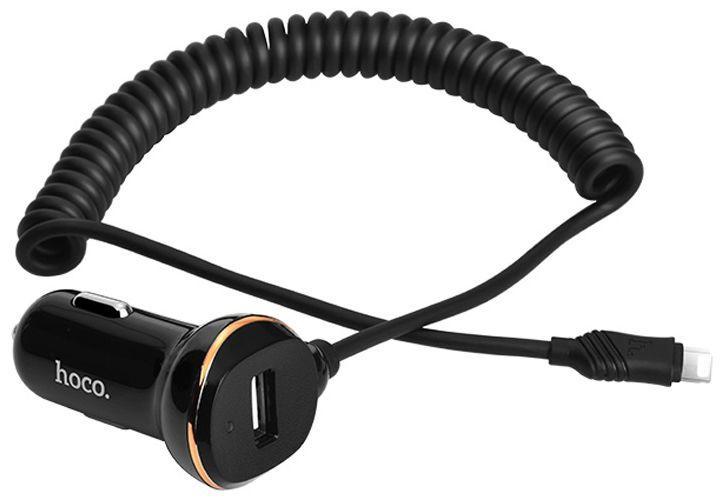 Автомобильное зарядное устройство  Hoco Z14 1USB with Spring Lightning Cable (3.4A) Black