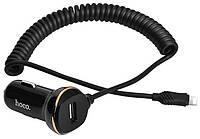 Автомобильное зарядное устройство  Hoco Z14 1USB with Spring Lightning Cable (3.4A) Black, фото 1