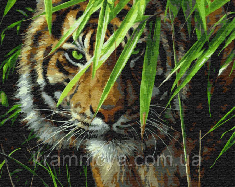 Картина по номерам 40x50 Зеленоглазый тигр, Rainbow Art (GX7418)