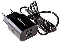 Сетевое зарядное устройство  Grand-X Home Charger 2 USB 2.1A + Micro USB Black (CH-35B), фото 1