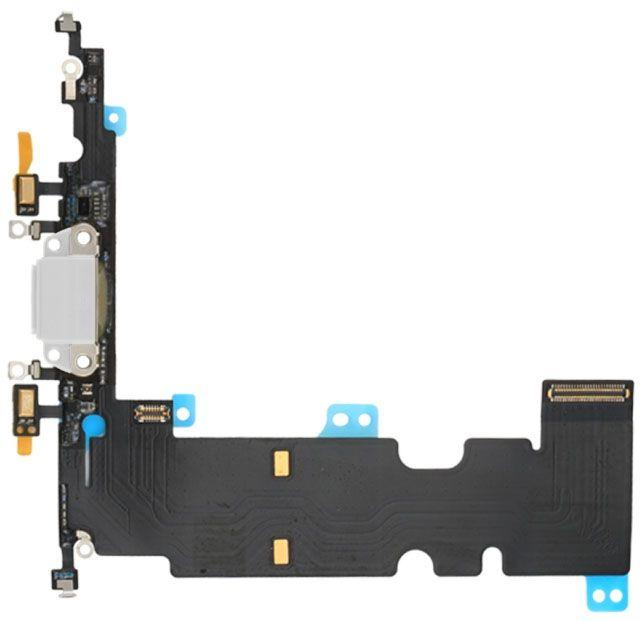 Нижний шлейф iPhone 8 Plus с разъемом зарядки / наушников и микрофоном Silver