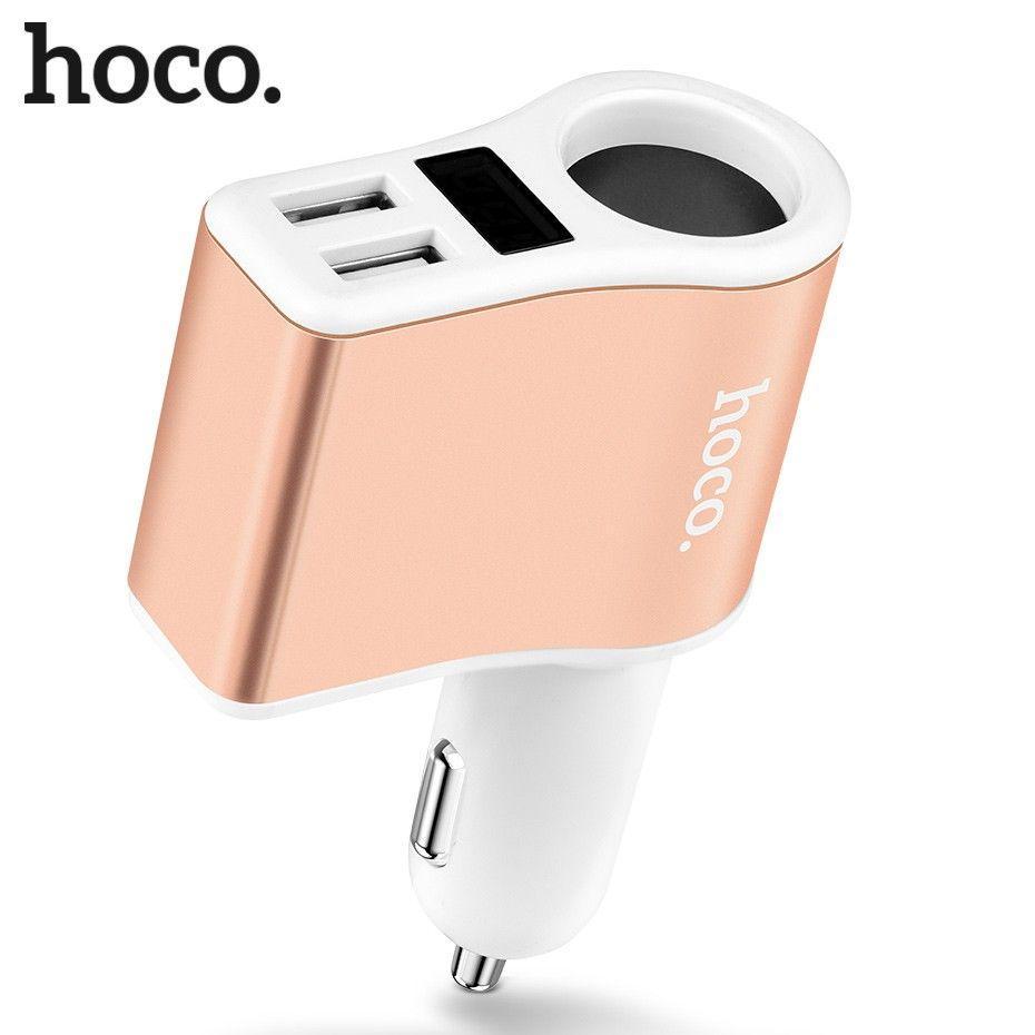 Автомобильное зарядное устройство  Hoco 2 USB Car charger 2.1А+LCD White (Z10)