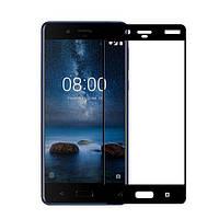Захисне скло PowerPlant Full Screen Nokia 8 Black (GL605224) + Кільце-тримач у подарунок!