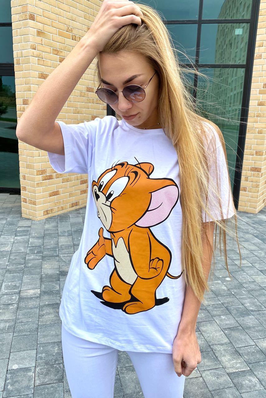 Молодежная футболка с рисунком Джерри LUREX - белый цвет, S (есть размеры)