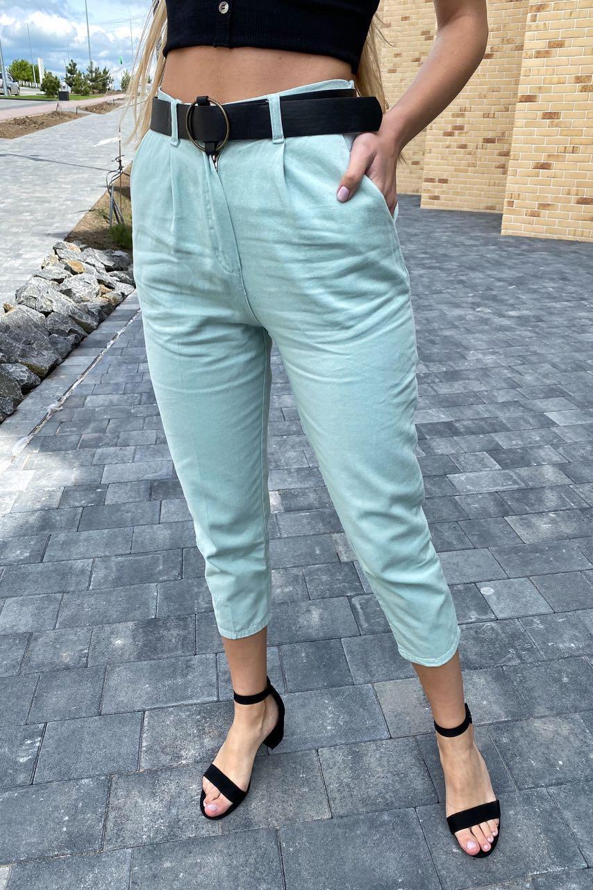 Модні жіночі джинси жіночі з поясом PERRY - бірюзовий колір, M (є розміри)