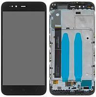 Дисплей (экран) для телефона Xiaomi Mi A1, Mi5X + Touchscreen with frame (original) Black