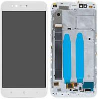 Дисплей (экран) для телефона Xiaomi Mi A1, Mi5X + Touchscreen with frame (original) White