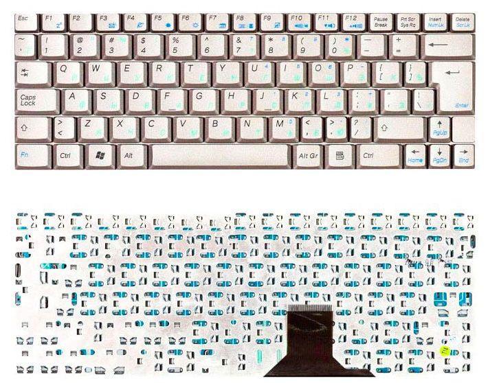 Клавиатура для ноутбука Asus U1 U1E U1F U2 U2E серебристая