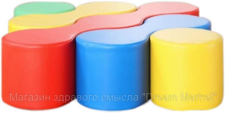 Мягкий модульный Набор Зигзаги для детей из 5 фигур-пуфиков для дома, игровых центров, детсадов 127*127*30 см