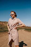 Женское платье-рубашка летнее красивое прямого кроя с поясом до колен (Норма, Батал)