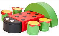 Мягкий модульный Набор детской мебели Божья коровка: столик и 4 стульчика для дома, игровых центров, детсадов