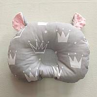 Ортопедическая подушка для младенца masterwork teddy bear холофайбер 24*32 см. короны с розовыми ушками