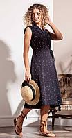 Платье Nova Line-50004 белорусский трикотаж, синий в горох, 42