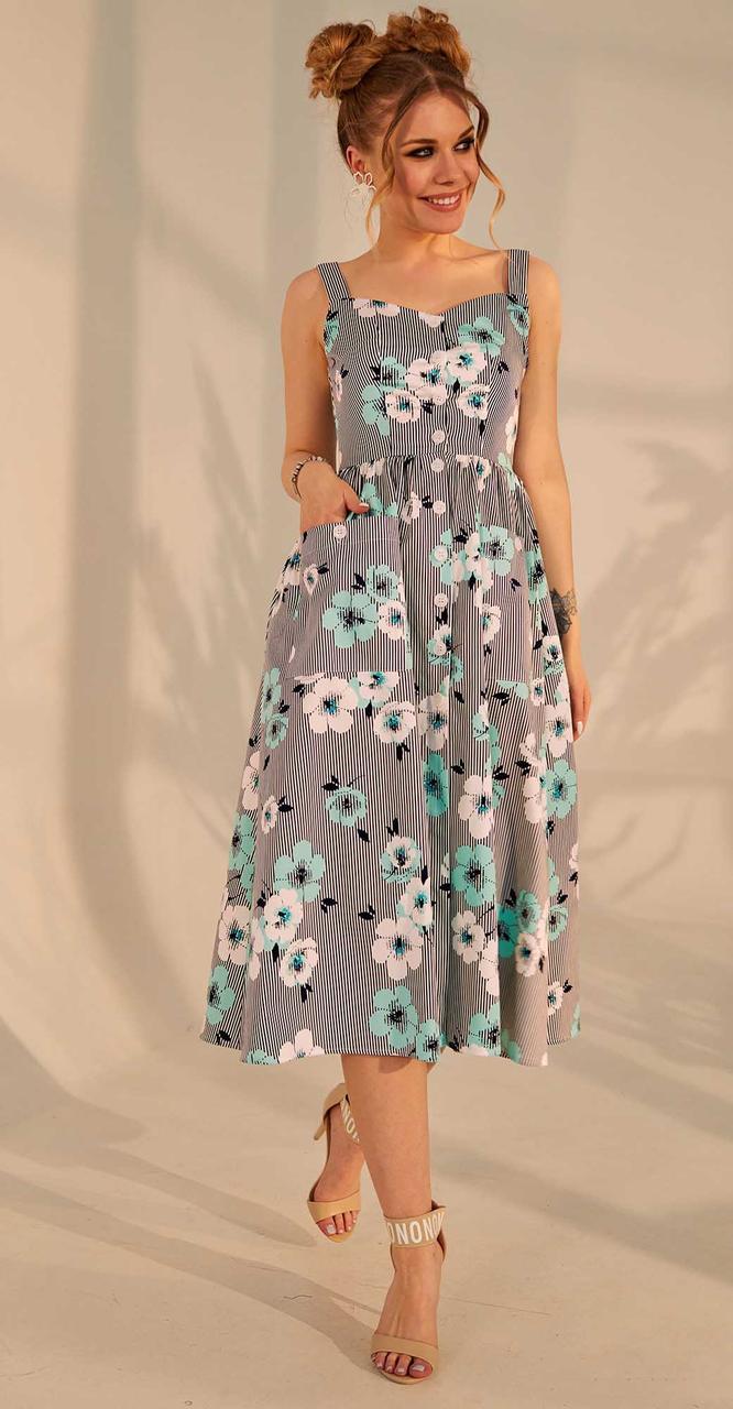 Платье Golden Valley-4673 белорусский трикотаж, синий с цветным, 42