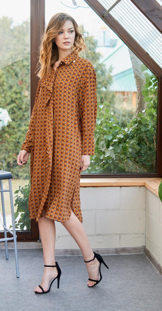 Платье Fantazia Mod-3677 белорусский трикотаж, рыжий, 48