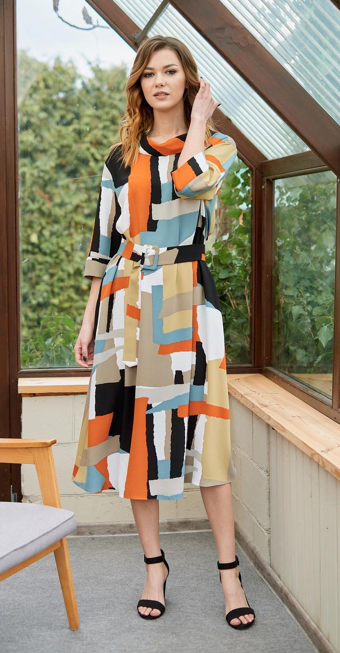 Платье Fantazia Mod-3679 белорусский трикотаж, разноцвет, 48