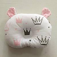 Ортопедическая подушка для младенца masterwork teddy bear холофайбер 24*32 см. короны розовые