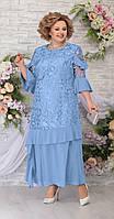 Платье Ninele-5781 белорусский трикотаж, голубой, 54