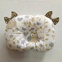 Ортопедическая подушка для младенца masterwork teddy bear холофайбер 24*32 см. совы беж с бантиками