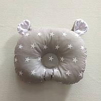 Ортопедическая подушка для младенца masterwork холофайбер 24*32 см. серая с белыми звёздами